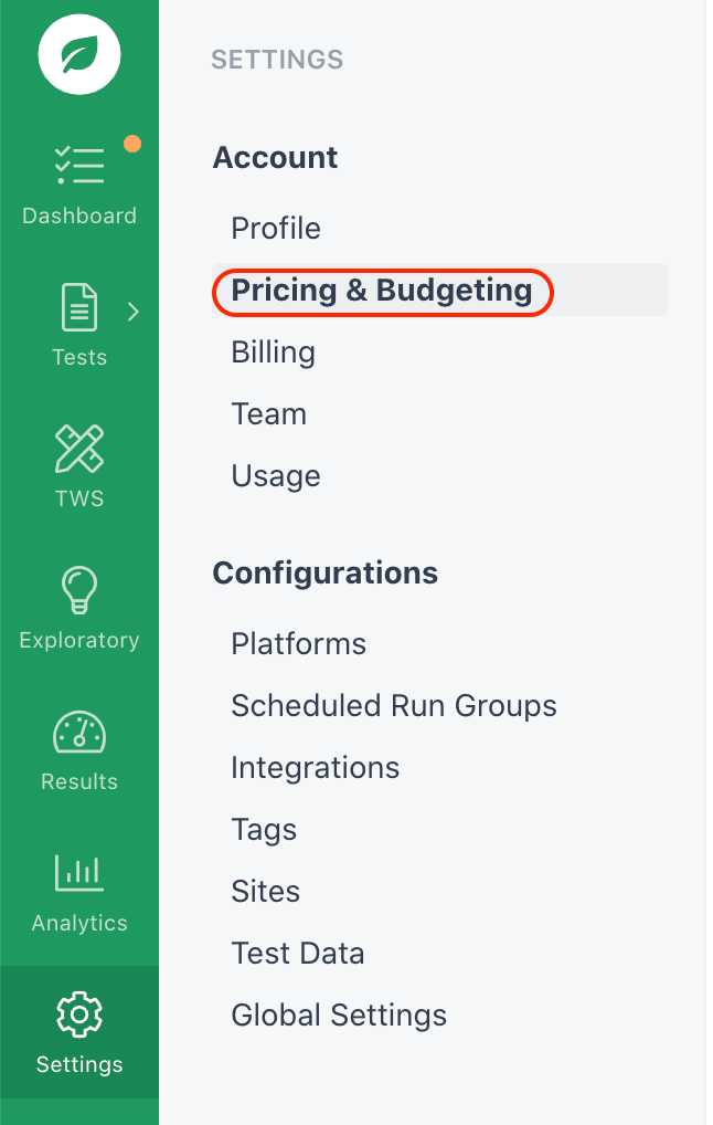 Navigating to the Pricing & Budgeting page.