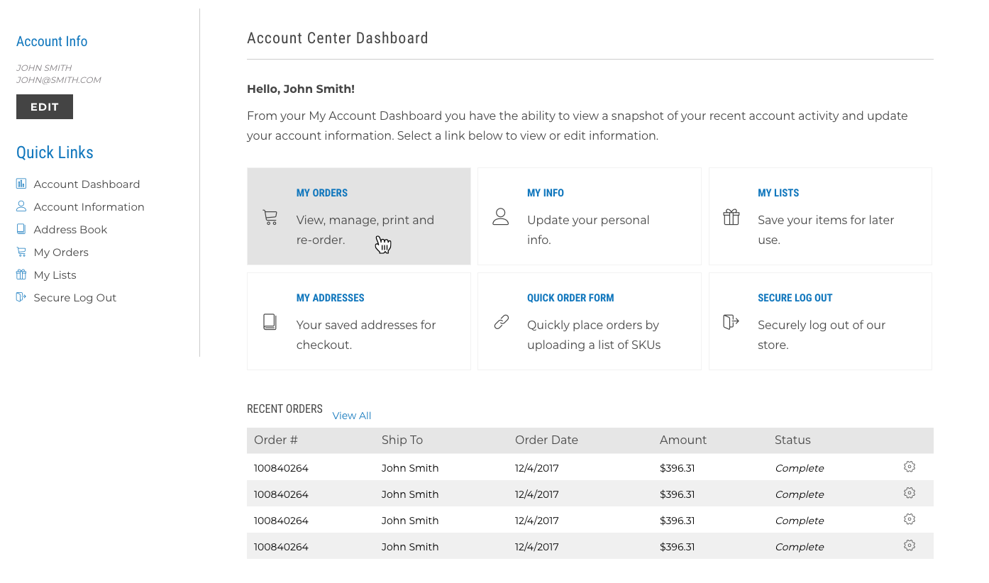 The new My Account design can be activated and then edited upon the launch of the new Visual Design Editor.