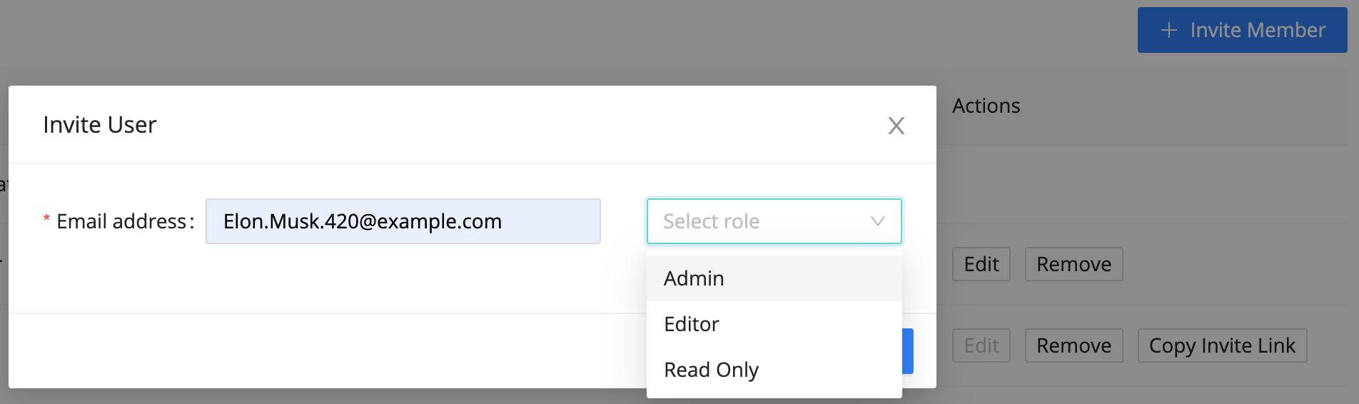 Invite User modal