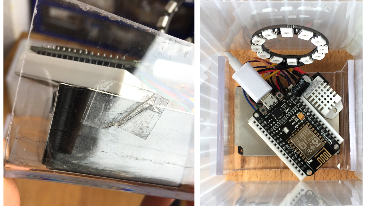 Double-sided tape on one side of the base (left) along side an assembled device inside of the lamp box (right)