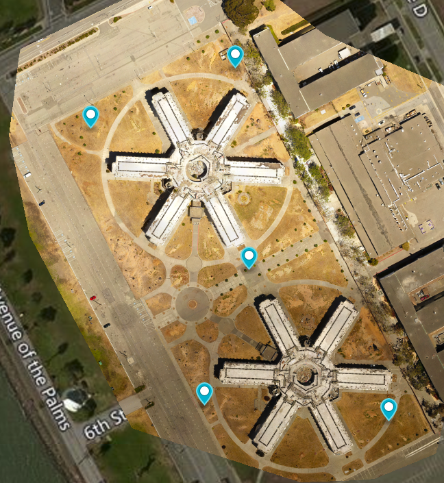 In this example, the subjects of interest are the 2 star shaped buildings so we place our GCP as best we can in the corners and center.