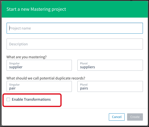 In this example for a new mastering project, check **Enable Transformations** to include this feature.