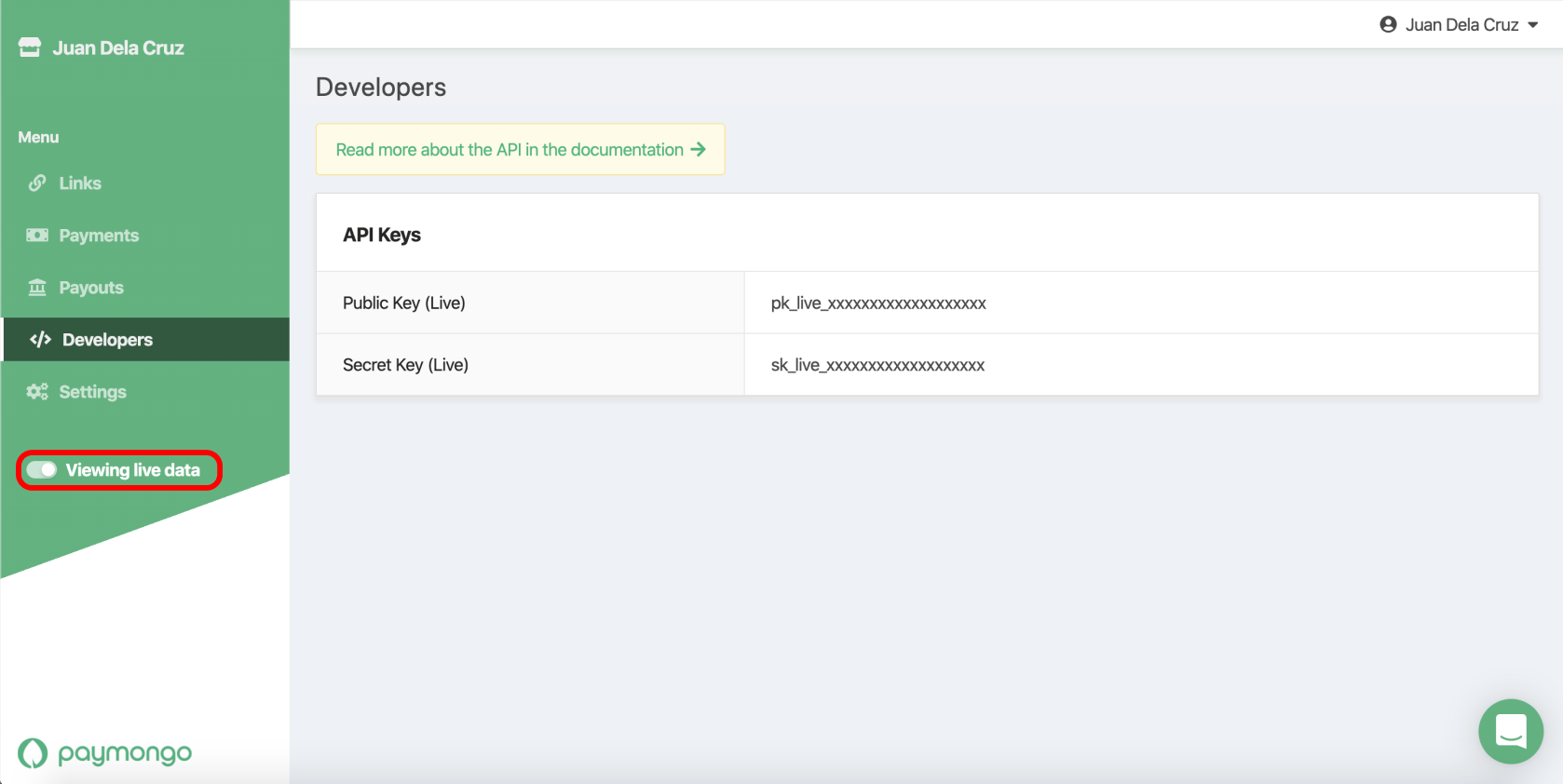 Use the toggle on the left to change between your test keys and your live keys. You'll need your live keys for Shopify.