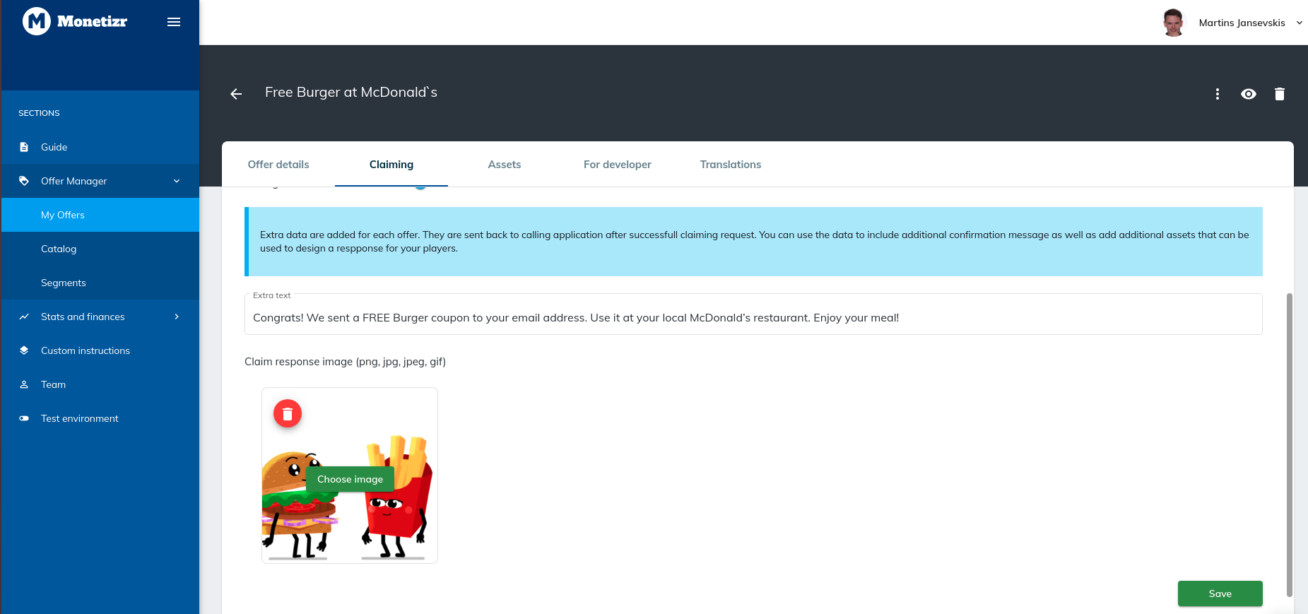 Claim data can be added to the console. The data will be returned in a successful giveaway offers claiming request ([See more](https://docs.themonetizr.com/docs/brand-sponsored-rewards))
