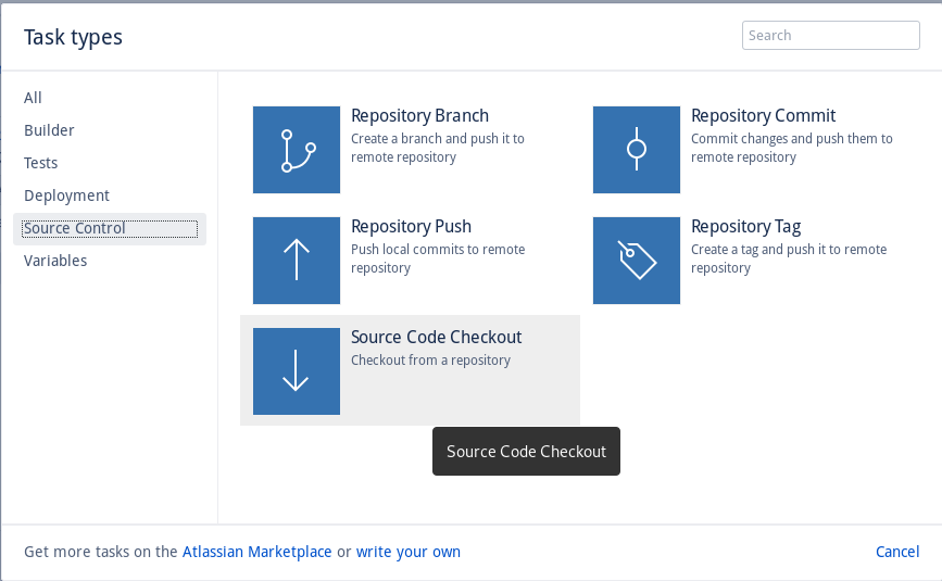 The Source Code Checkout task gets the latest code from the repository