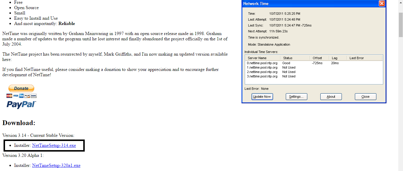 Figure 3.6. NetTime download page.