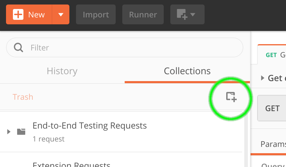 Click the New Collection button, circled here in green.
