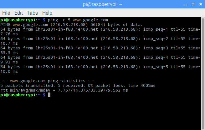 Successful ping result