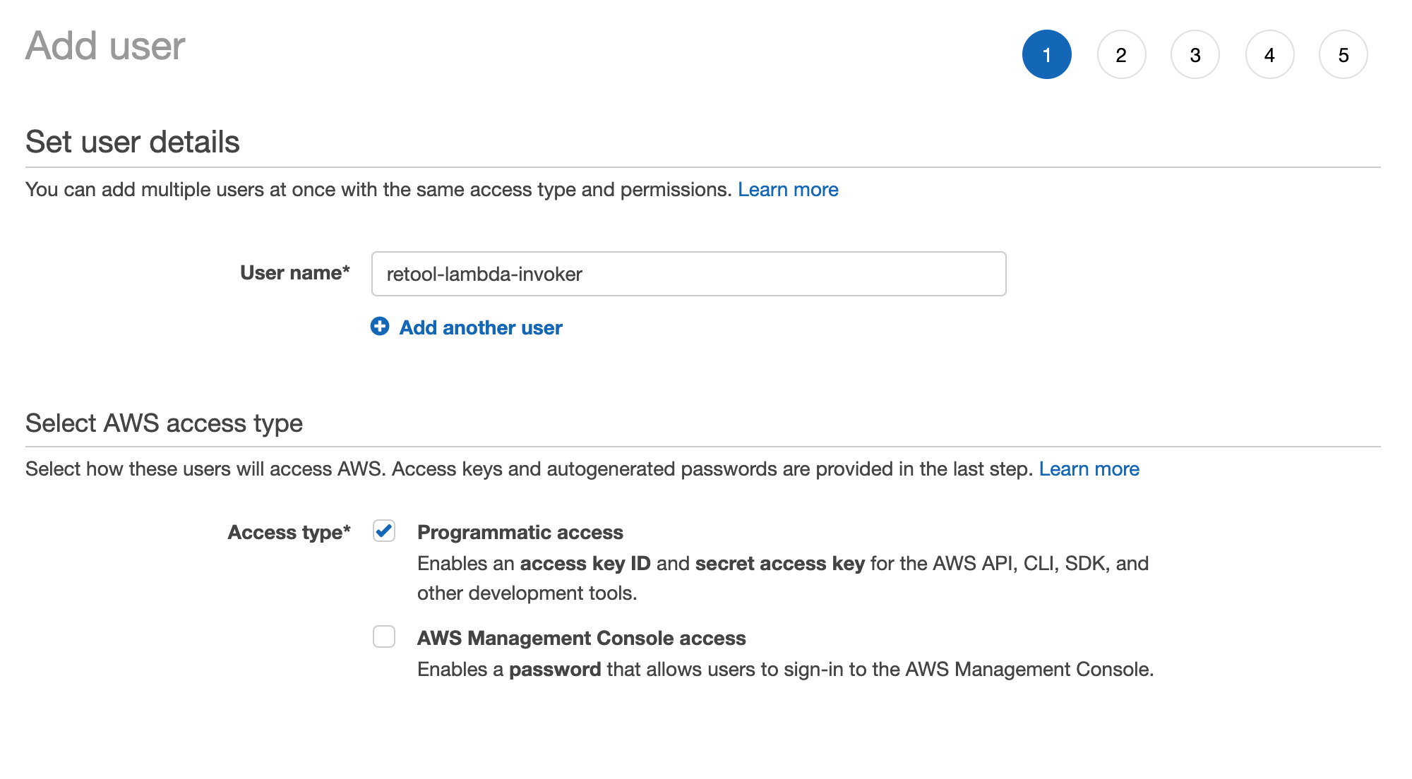 Creating an IAM user and setting the access type.