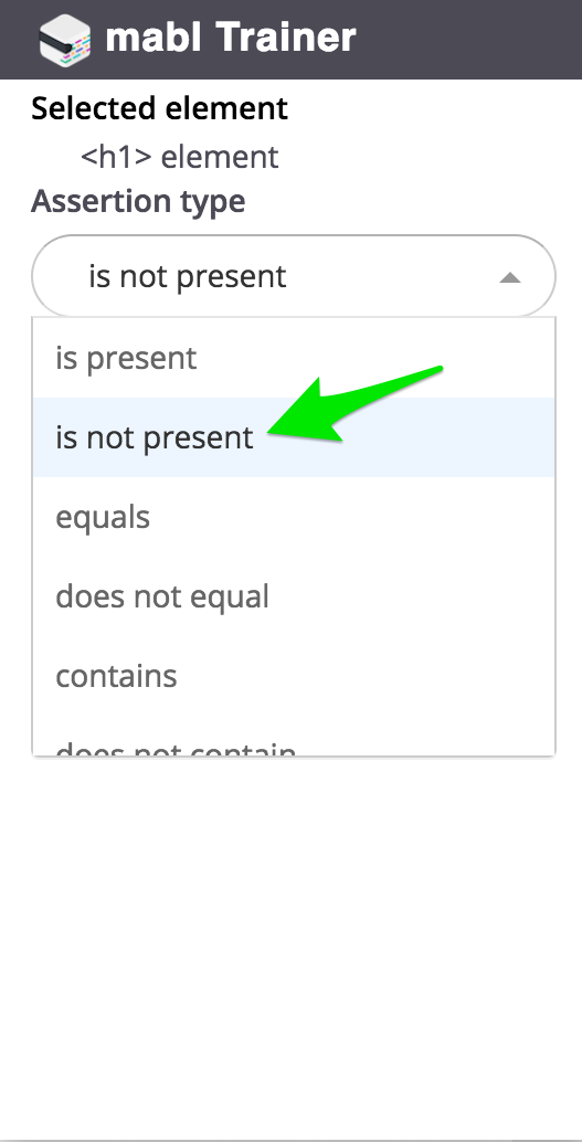 Working With The Not Present Assertion