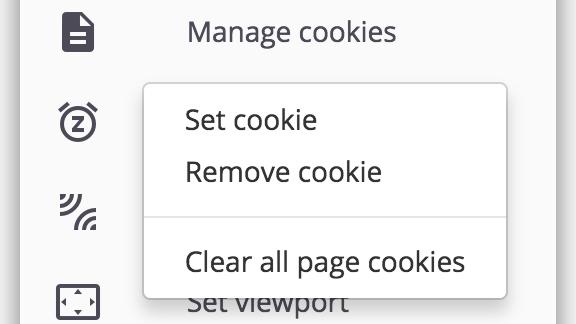 Options - managing cookies
