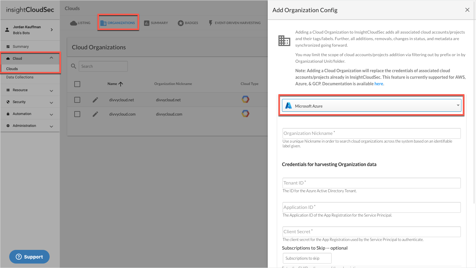 Add Azure Organizations