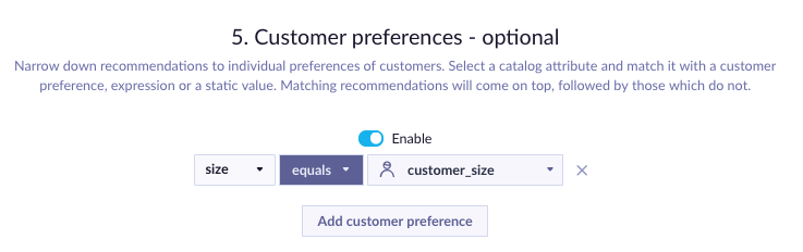 Example of Customer Preferences picker reordering recommendations based on customer size.