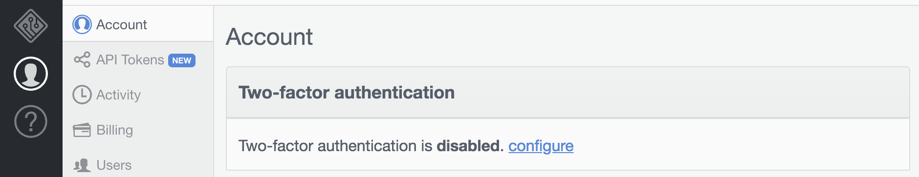 Two-Factor Authentication Status.
