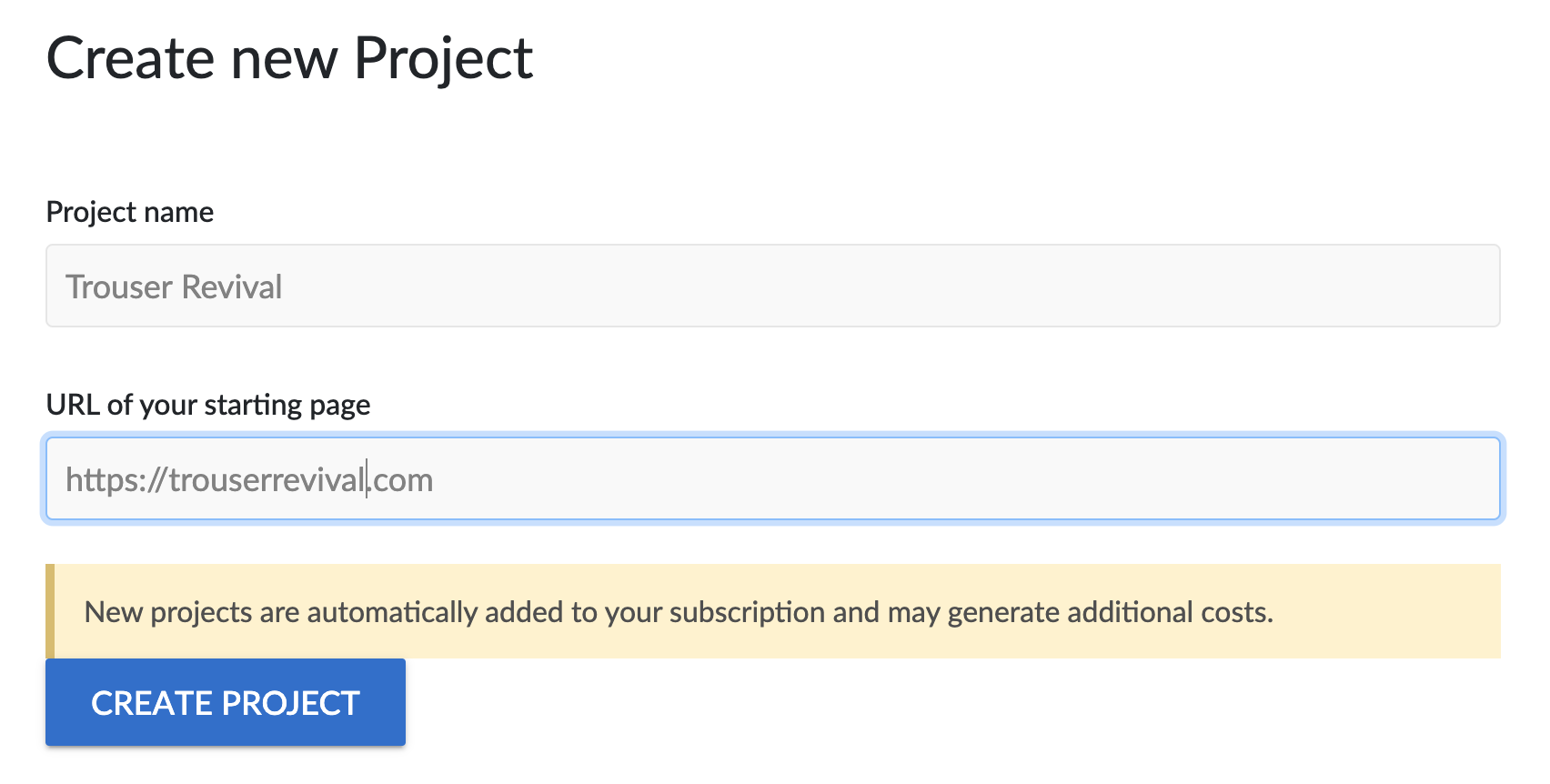 """""""Create new project"""" form."""