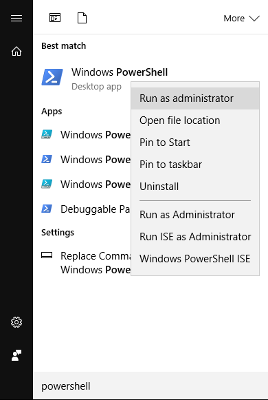 *Figure 2.7. Start a PowerShell terminal as Administrator.*