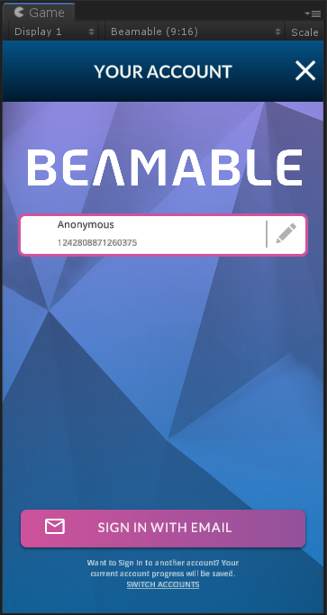 """The Beamable """"Account Management Flow"""" UI in the Unity Game Window"""