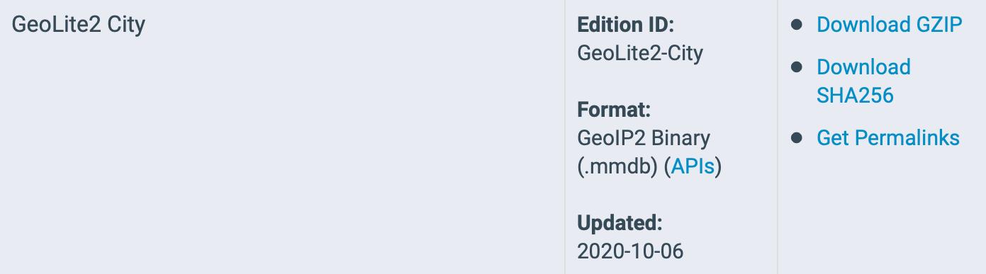 GeoLite2 City database: Download binary GZIP