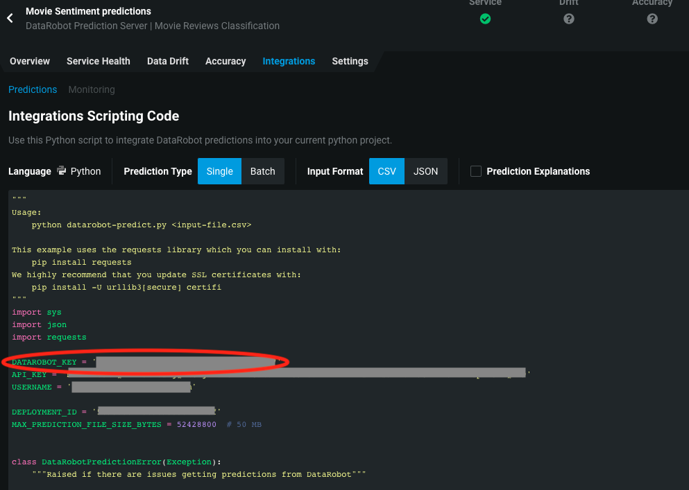 DataRobot key in the integrations tab code snippet