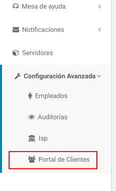 "Menú lateral - Opción ""Configuración Avanzada"" -> ""Portal de Clientes"""