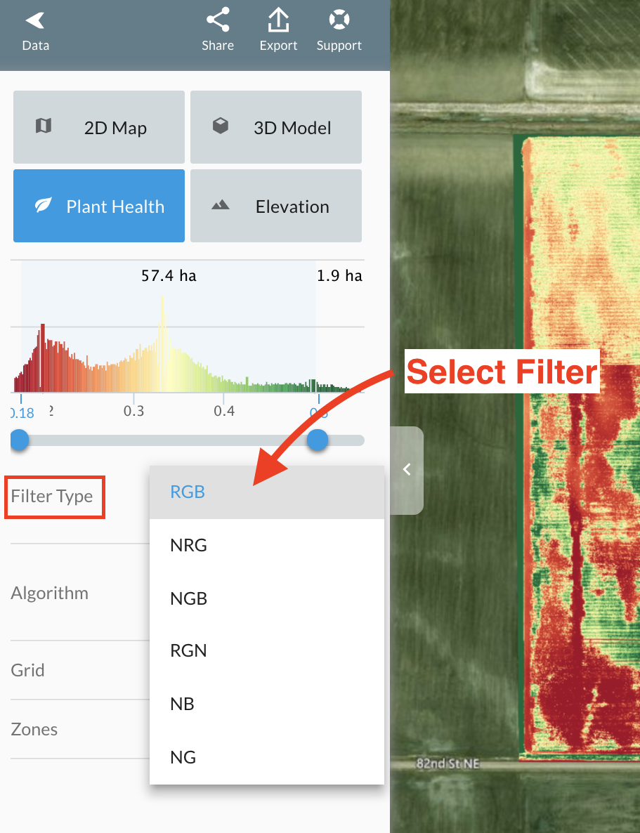Selection the filter type to analyze your data.