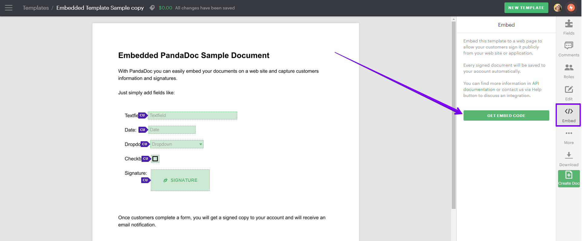 When template embedding is enabled, the *Embed* button will be available on the right panel.