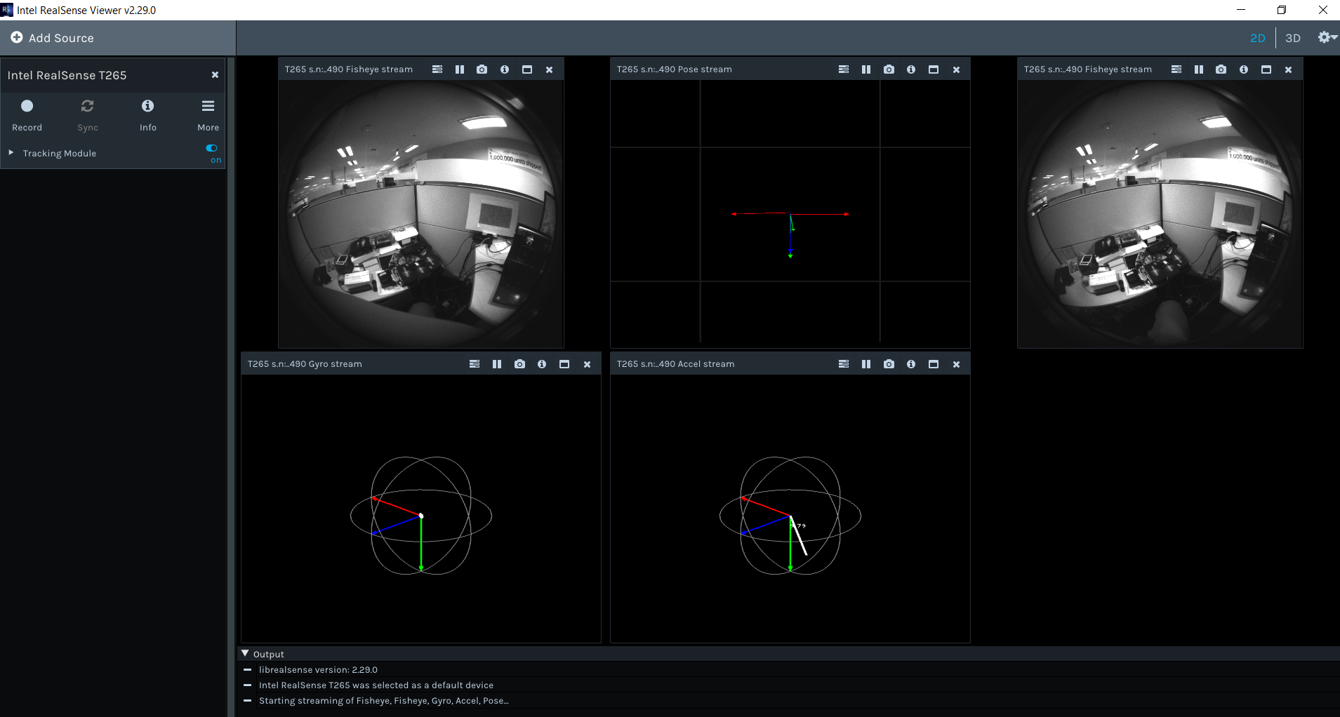 "Fig. 5A. The Intel RealSense Viewer, shown here, is a great starting point for getting familiar with the Intel RealSense Tracking Camera T265. In the ""2D"" view, the different raw sensor inputs are visualized."