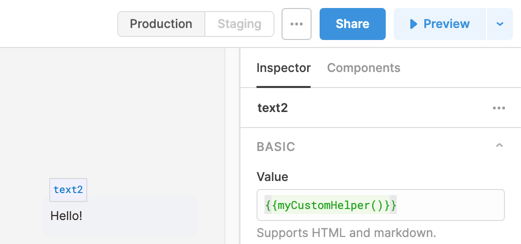 Helping in `{{ }}` snippets.