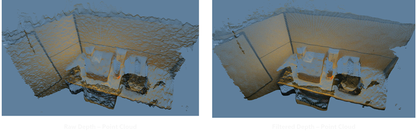 Figure 11. Post processing of images can be used to clean up a depth map, as in this 3D selfie and office cubicle scene.  Top: In this example we show how a small baseline stereo imager (the Intel RealSense D405) with a somewhat noisy depth map can be cleaned up by applying a small amount of spatial and temporal filtering.  Bottom: Intel RealSense D410 3D capture of an office cube with minor post processing using exponential moving average and edge-preserving domain transform filtering.