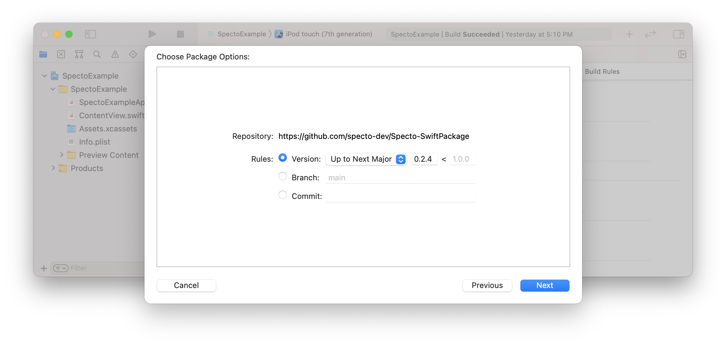 Selecting the version constraint for the Specto Swift package (step 3)