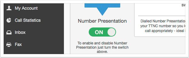 Turn on Number Presentation