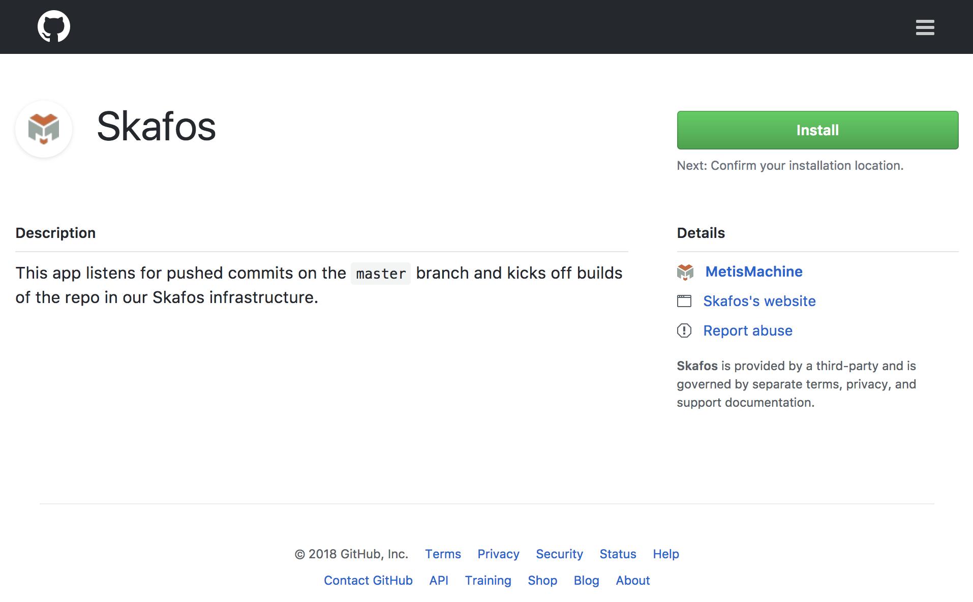 Skafos GitHub app Install