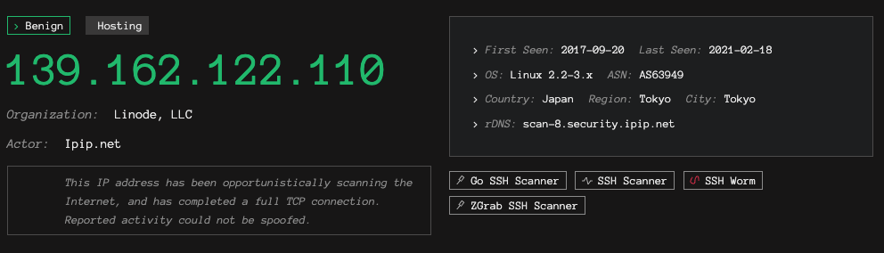 Example of a Benign IP with a Malicious Tag