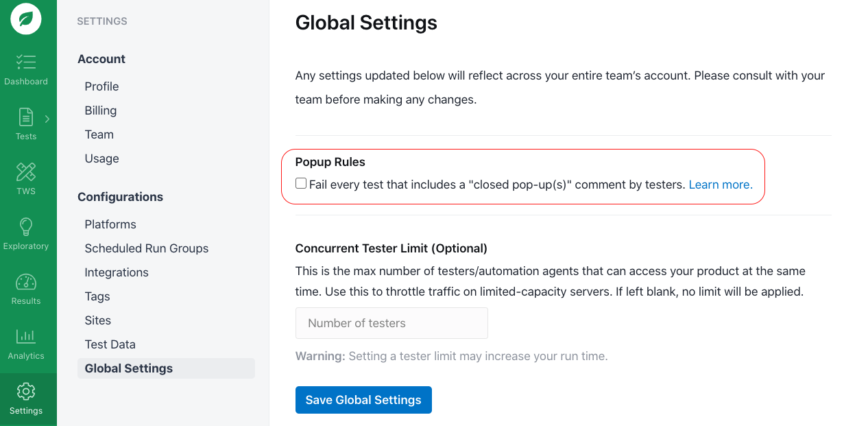Toggling the pop-up rules.