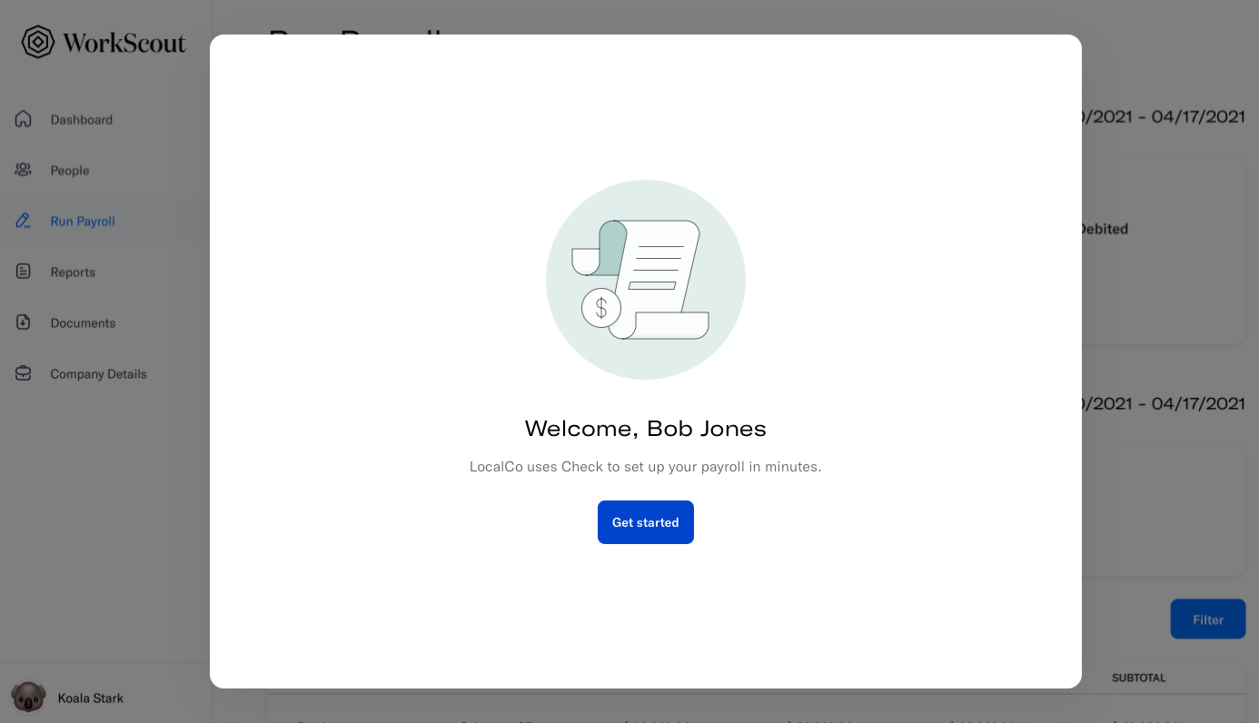 """Screenshot of an employee onboarding modal for a hypothetical Check partner """"Workscout"""""""