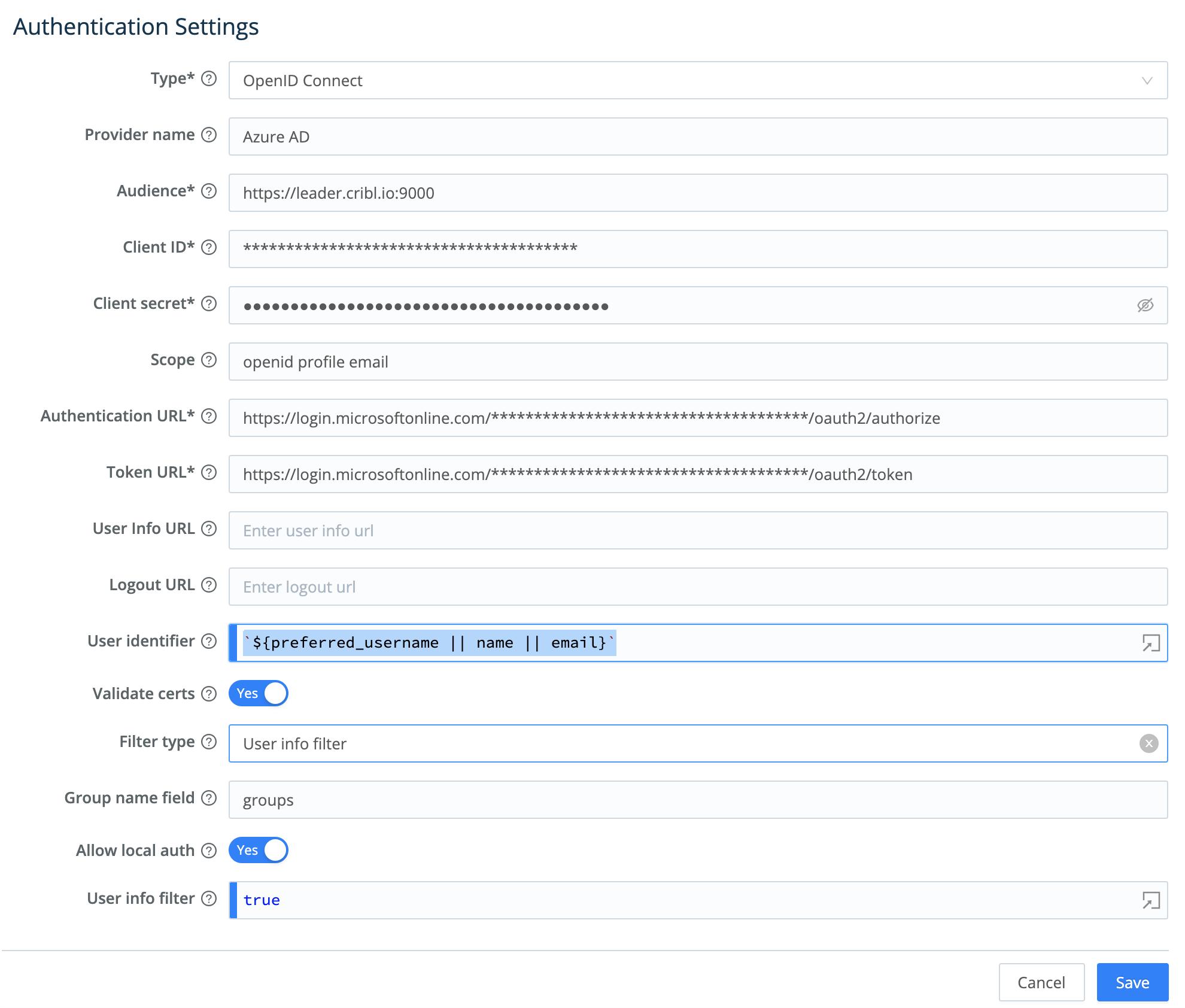 Sample LogStream Authentication Settings for AzureAD (v2 endpoints)