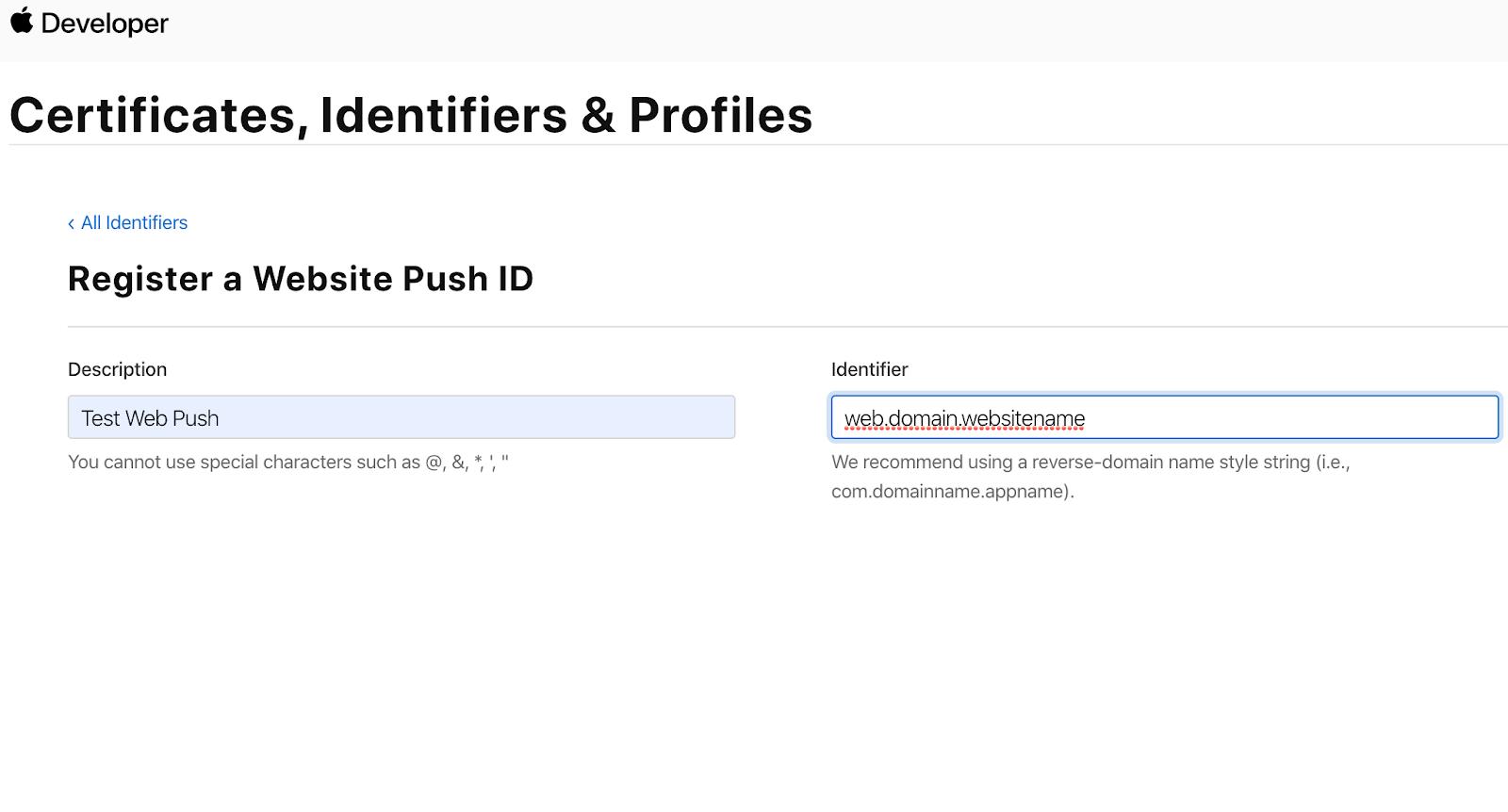 Webpush ID Description