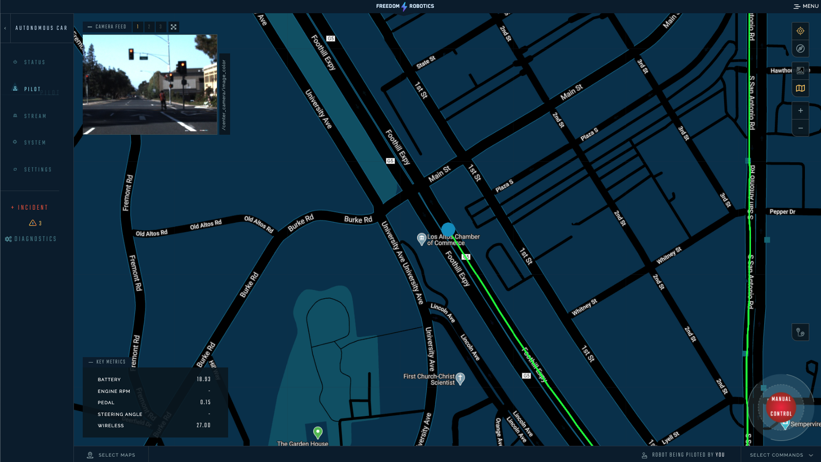 The GPS navigation view integrates maps, video feeds, memorized commands, and key metrics.