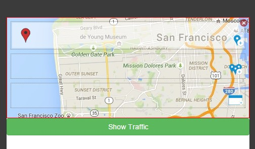 Showing traffic layer.