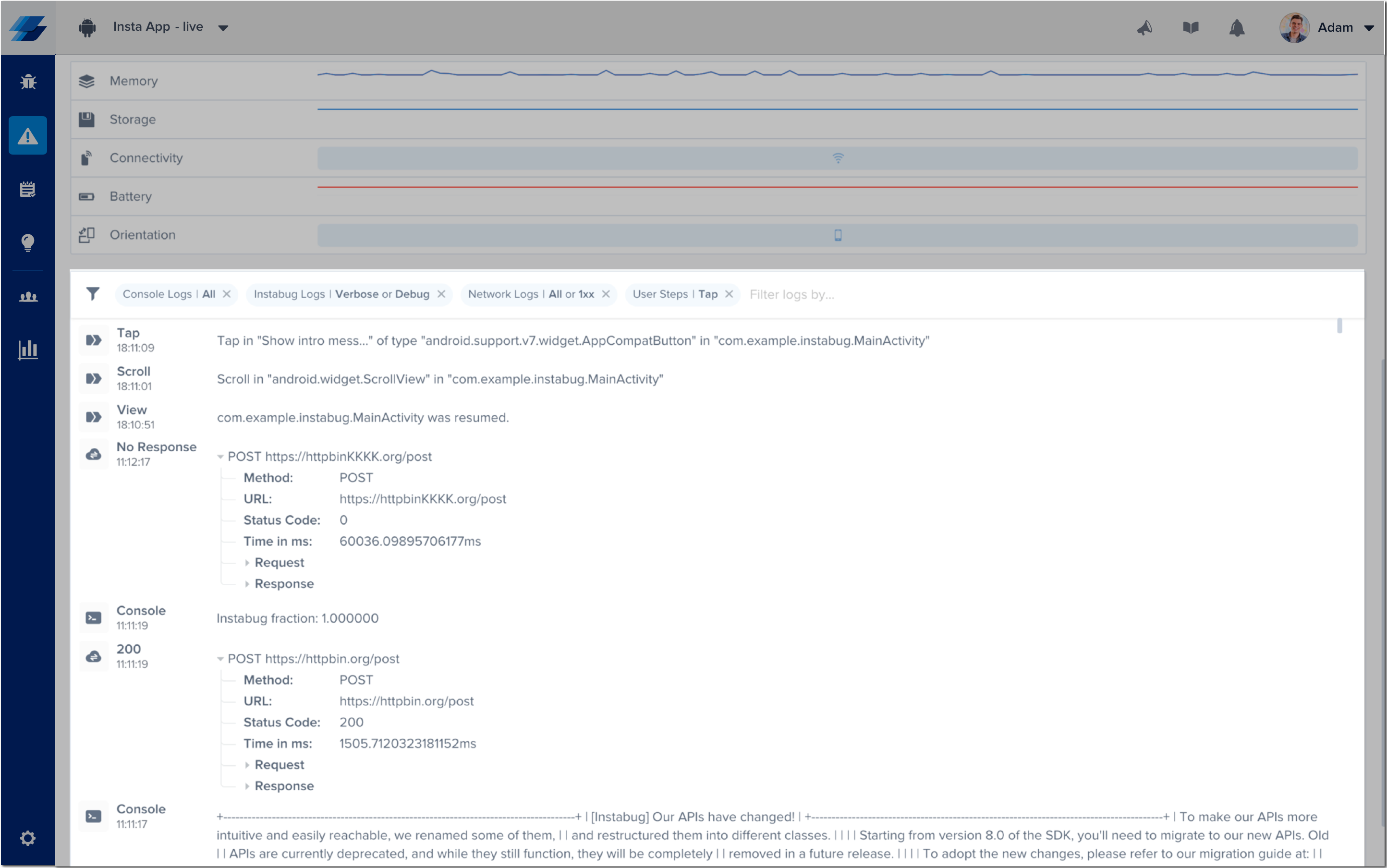 An example of the expanded logs view in the Instabug dashboard.