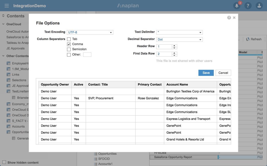 Salesforce to Anaplan via Custom Report