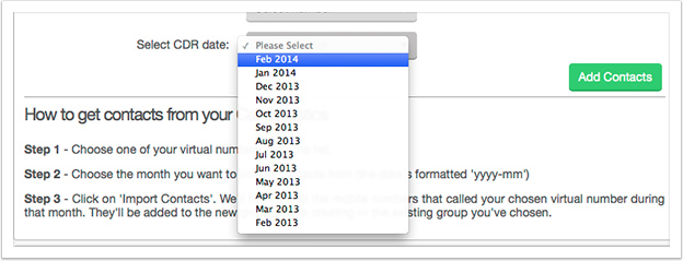 Using the Select CDR date drop down, choose the month you'd like to use the call statistics