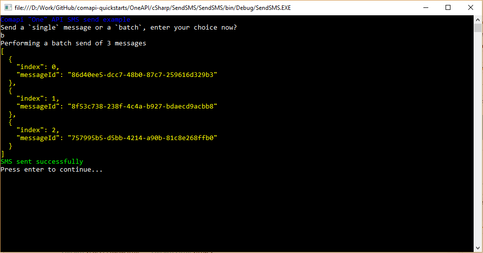 C# Example for batch SMS sends