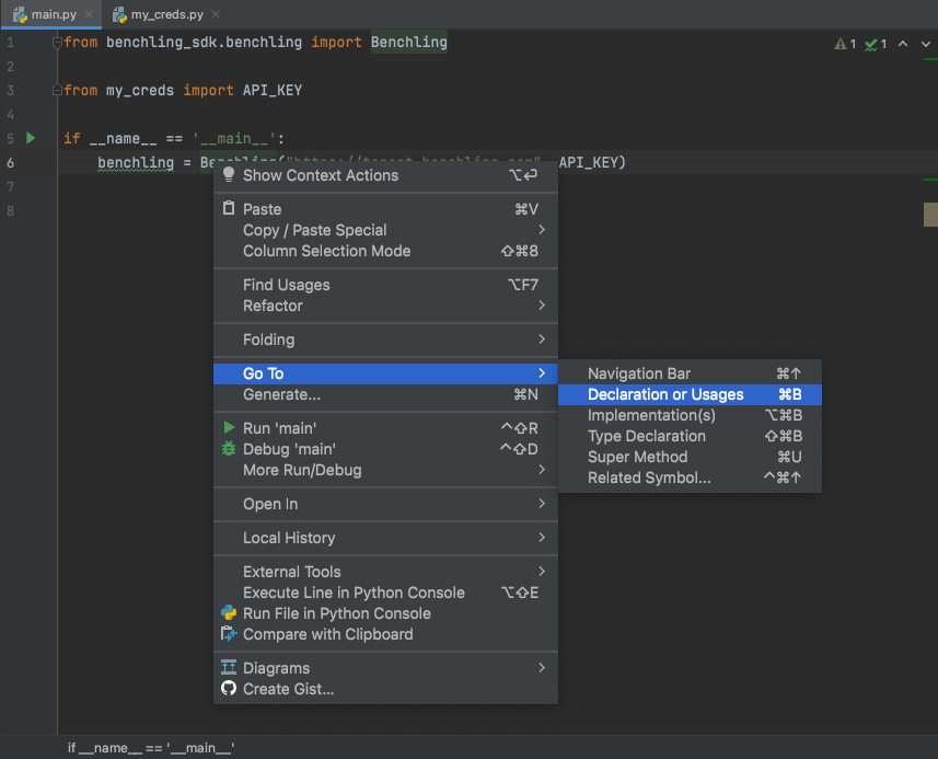 Reveal definitions and declarations of class/method names via PyCharm