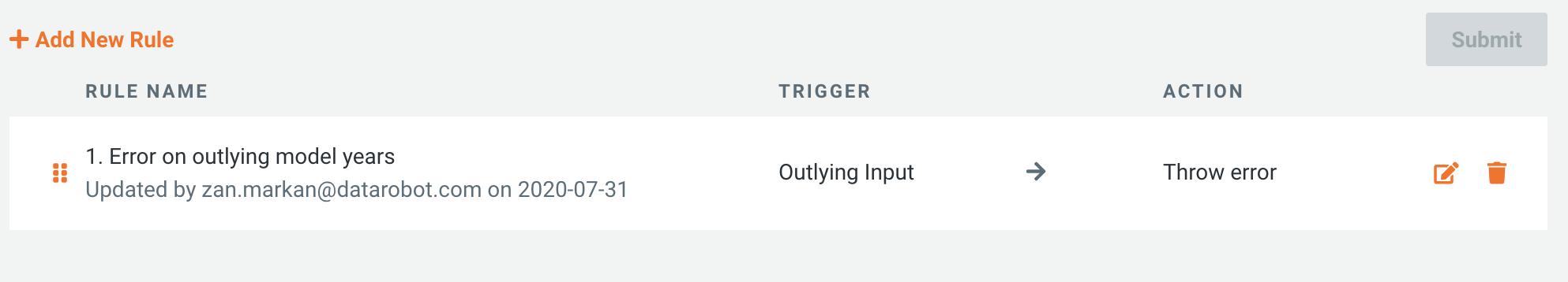 Outlying input trigger set