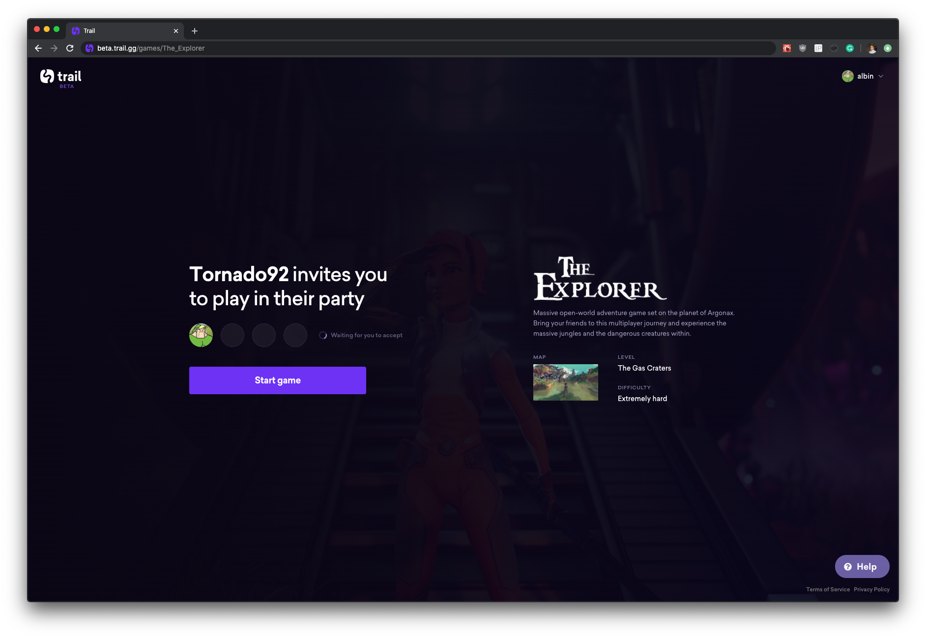 Landing page shown to incoming players.