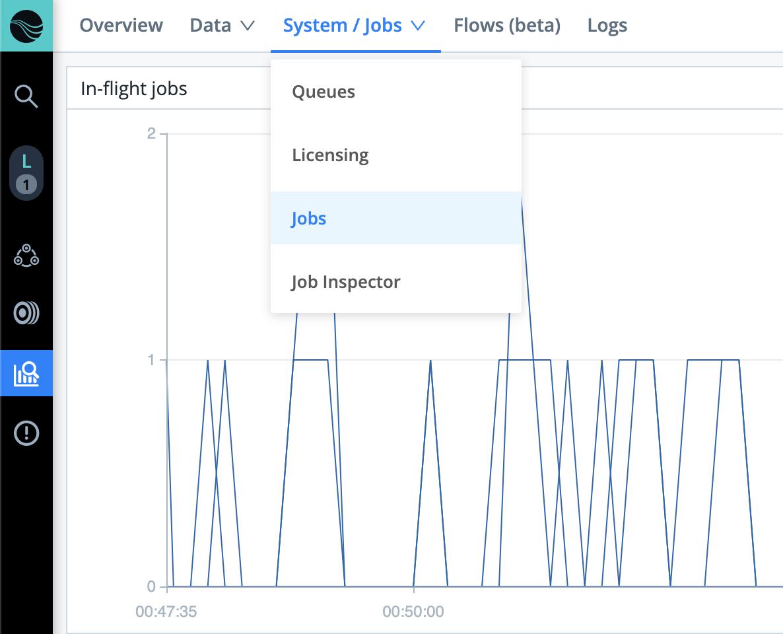 Monitoring > System submenu (Jobsin‑flightselected)