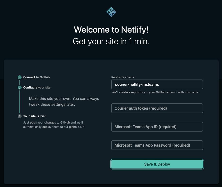 Netlify Deploy Input Dialog
