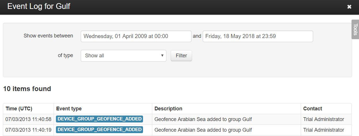 Group Event Log
