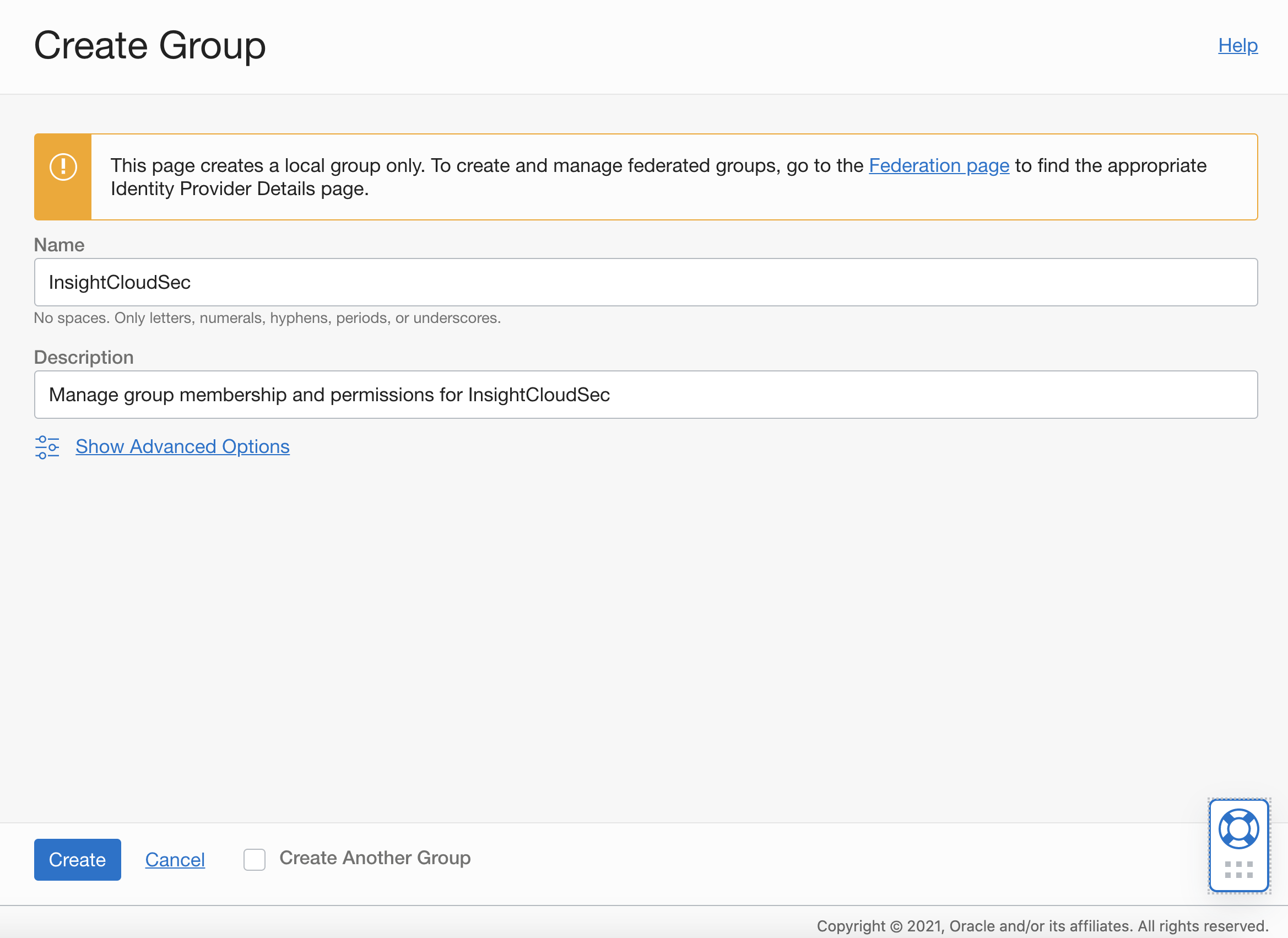 Oracle Console - Create Group